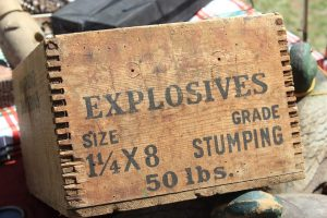 "Crate labelled ""Explosives"""
