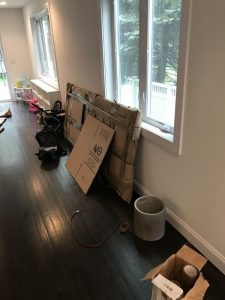 Entire living room packed up - our Ridgefield Park movers NJ provide top-quality packing supplies.