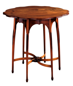 A wooden table - the shape can make it difficult to store wood furniture.