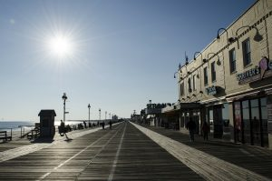A pier and a beach in New Jersey.